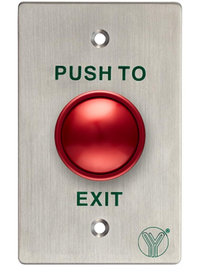 YLI PBK817CALR - Boton de salida en color rojo con acabado en acero inoxidable/ Señales NC y NO