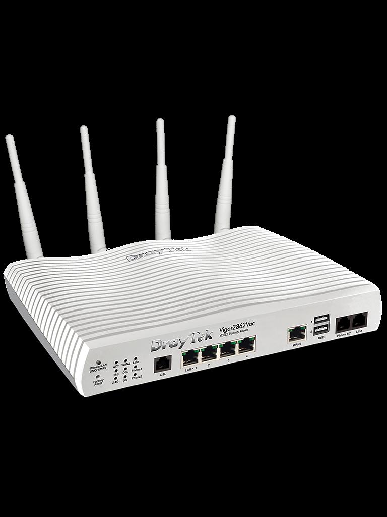 DRAYTEK VIGOR2862VAC- RUTEADOR INALAMBRICO MULTI WAN/ 1 PUERTO WAN ADSL/ 1 PUERTO WAN GE RJ45/ 4 PUERTOS LAN GE/ 32 VPN/ VOIP/ WIFI AC 867MBPS