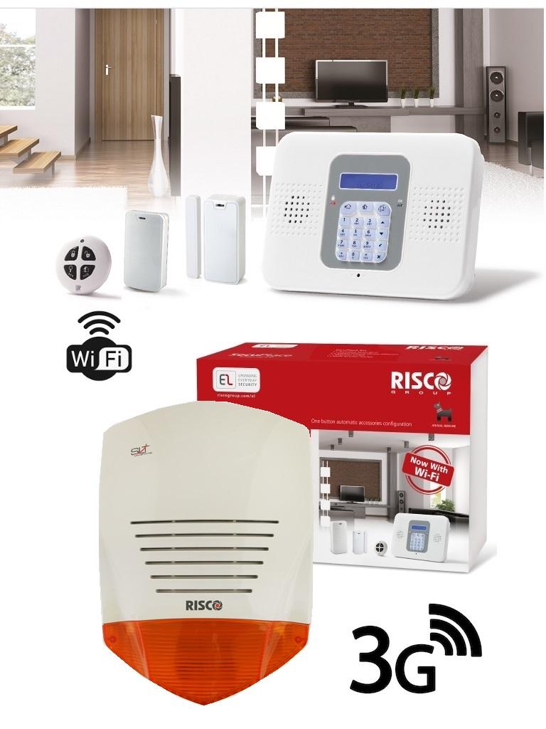 Risco SECUPLACE SOUND 3G - Paquete con Kit de Alarma Autocontendido Secuplace WiFi/3G y Sirena Cableada ProSound.