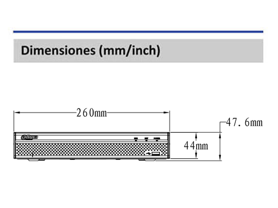 Dimensiones_DAHUA XVR5108HSX_Vista Frontal_400 x 430