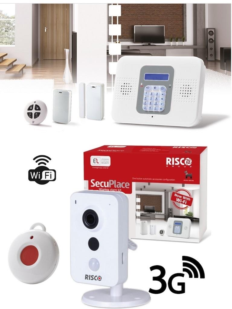 Risco SECUPLACE VUPOINT CUBE- Paquete Con Kit De Alarma Autocontendido Secuplace WiFi/3G, Una Cámara Tipo Cubo De Interior Para Video- Verificación, Botón De Pánico Inalámbrico Y Fuentes