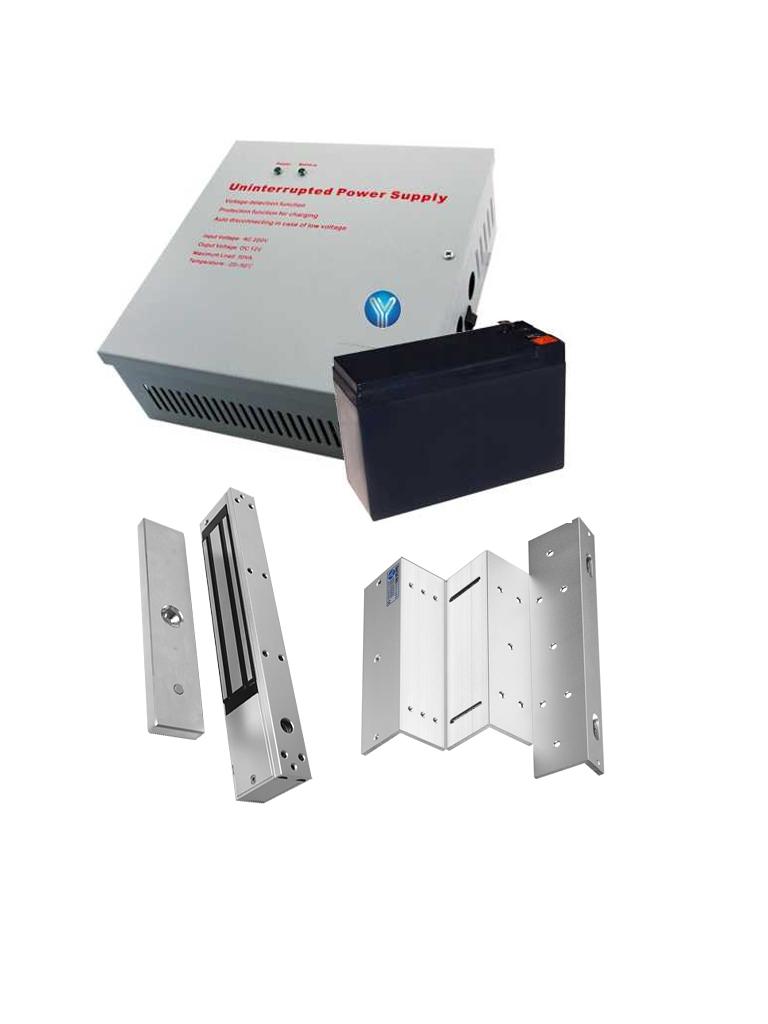 YLI YM280NYP90PAK - Paquete de gabinete metalico con fuente energia 12 VDC 3 AMP salidas  NC/NO/ COM/ Chapa magnetica YM280N, bateria de respaldo 12 VDC y de regalo soporte de fijacion ZL