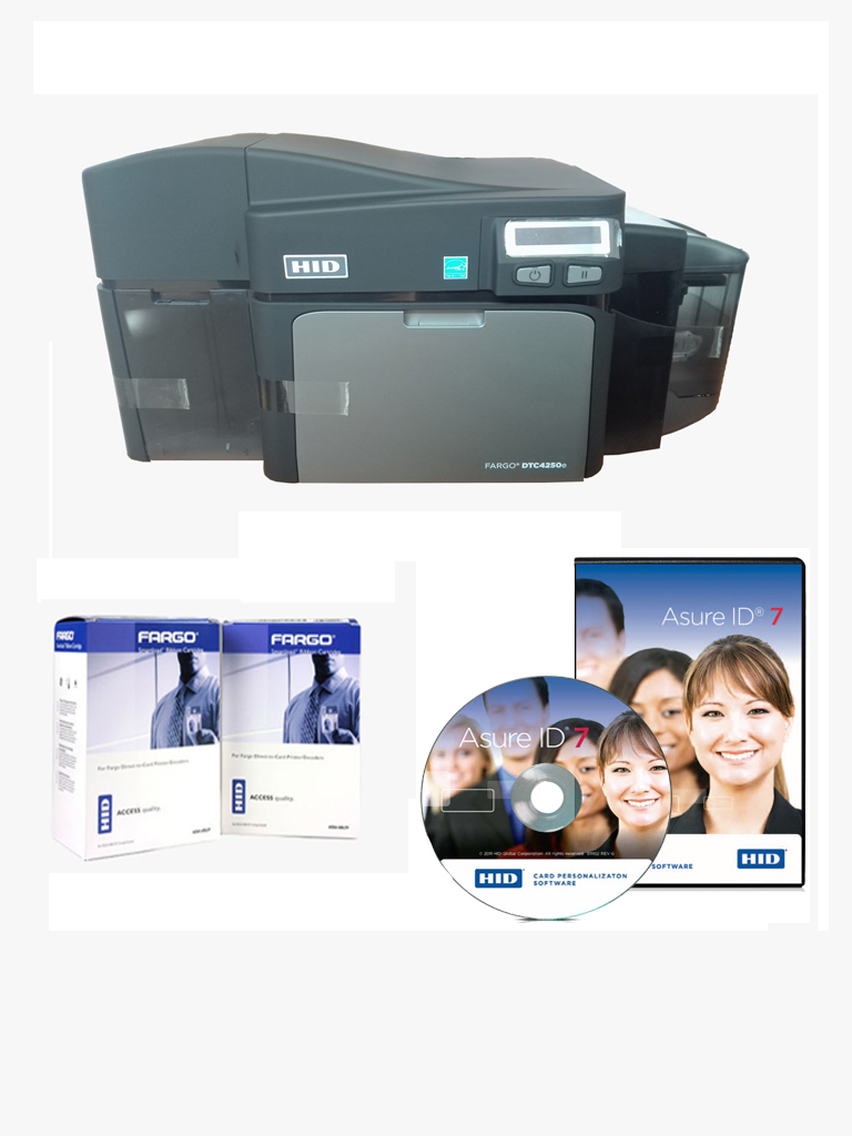 HID DTC4250EDS - Kit de impresora FARGO DTC4250E / Impresion a doble cara / Puerto de red y  USB / 2 Cintas / ASURE ID EXPRESS