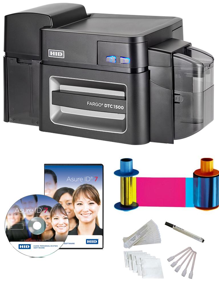 HID DTC1500PAQ - Impresora FARGO DTC1500SS impresion a una cara / Conexion  USB y ethernet / Incluye CINTA, software ASURE  ID EXPRESS y kit de limpieza