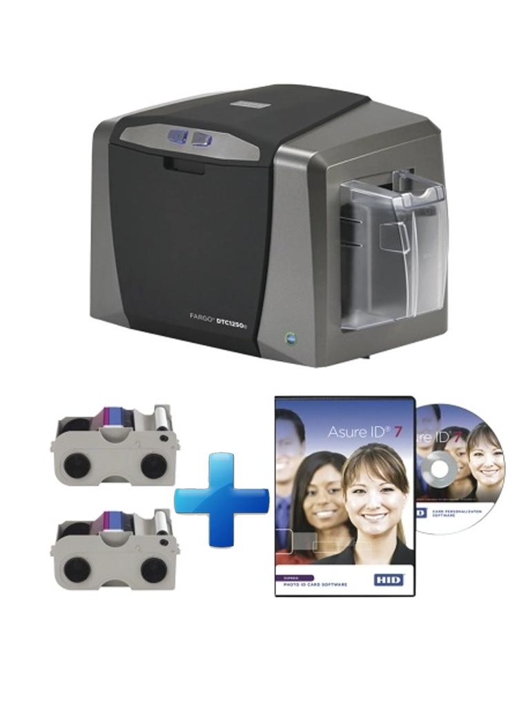 HID DTC1250E - Paquete de impresora DTC1250E/ Incluye 2 cintas de Impresion para un solo lado / USB / Software ASURE ID EXPRESS / Compatible con HID069022, HID069018