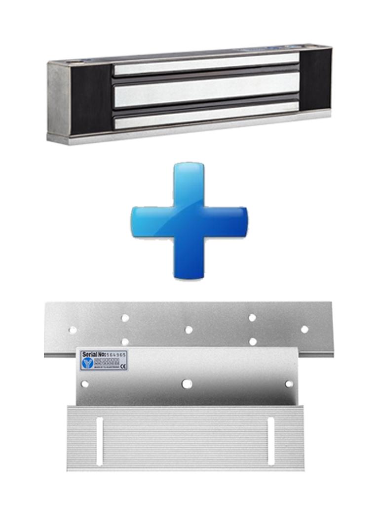 YLI PAQYM350WS - Paquete con chapa de 350 kg/800 Lb para uso en exteriores o interiores IP68 uso en puertas de metal, vidrio o madera incluye soporte de fijacion ZL