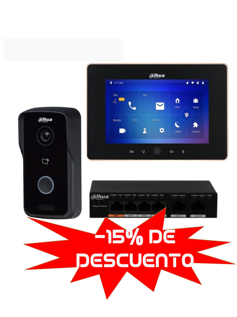 DAHUA VTO2111DWPAK - Frente de calle IP / Apertura de puerta remota / P2P / Incluye monitor y switch  PoE DAHUA 4 puertos
