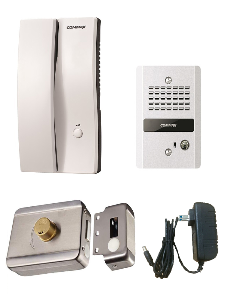 COMMAX PAQDP2SDR2G - AUDIOPORTERO INTERFON Y FRENTE DE CALLE/ 150 MTS / INCLUYE FUENTE 12VDC Y CONTRA CHAPA INTELIGENTE