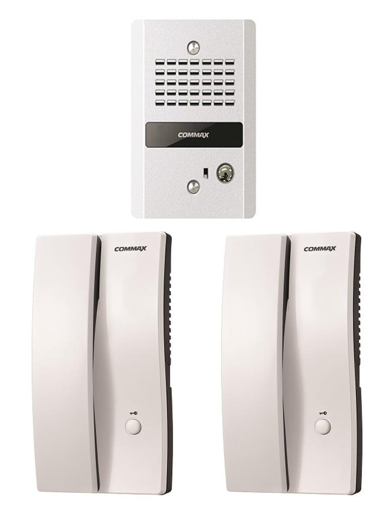 COMMAX PAQDR2GN - Paquete de audioportero frente de calle con 2 equipos de interfon con conexion directa a 110V / Apertura de puerta
