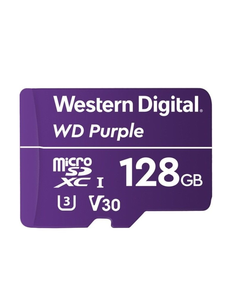 WESTERN WDD128G1P0A - Memoria de 128 GB MICRO SDXC PURPLE / Especializada para videovigilancia 24 / 7 Clase 10 LECT 80MB / S ESC 50MB / S