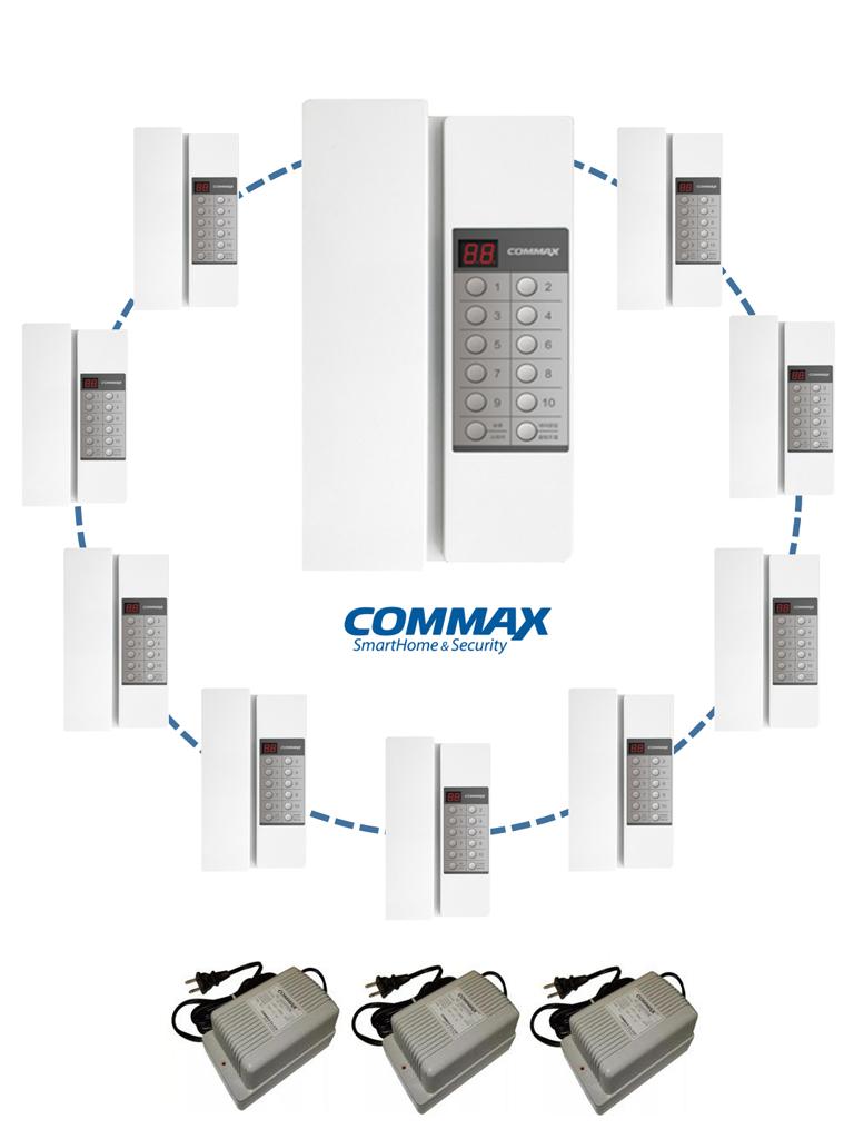 COMMAX PAQTP90RN - Paquete de 10 intercomunicadores de audio TP90RN / Configuracion de extensiones / Incluye 3 fuentes 24V DC