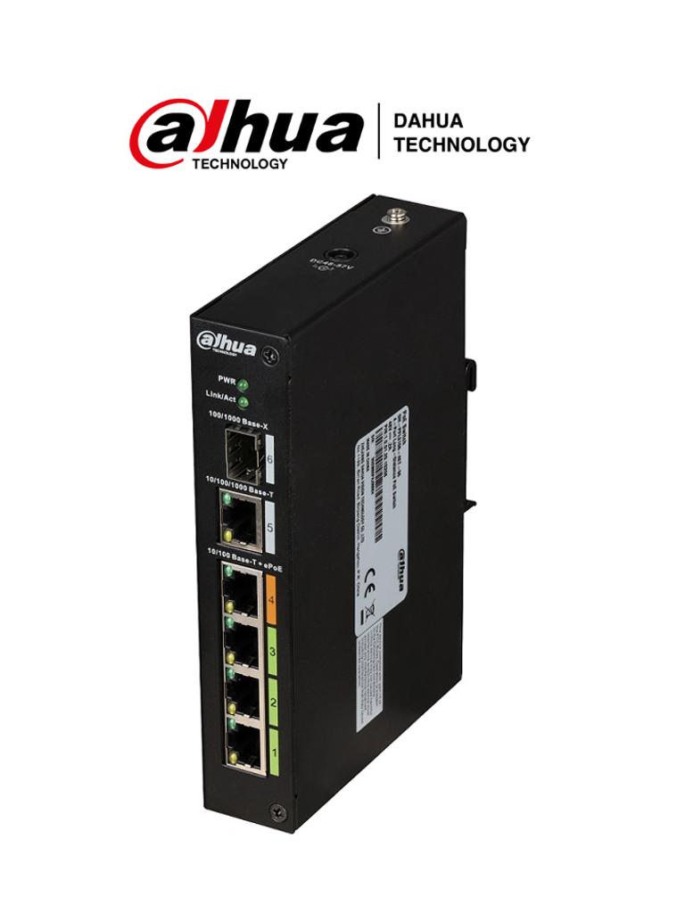 DAHUA PFL2106-4ET-96 - Switch ePoE 4 puertos/ 1 Puerto Combo/ SWITCHING 6.8G /96 Watts/ Soporta IEEE 802.3af/ IEEE 802.3at/ HI-PoE