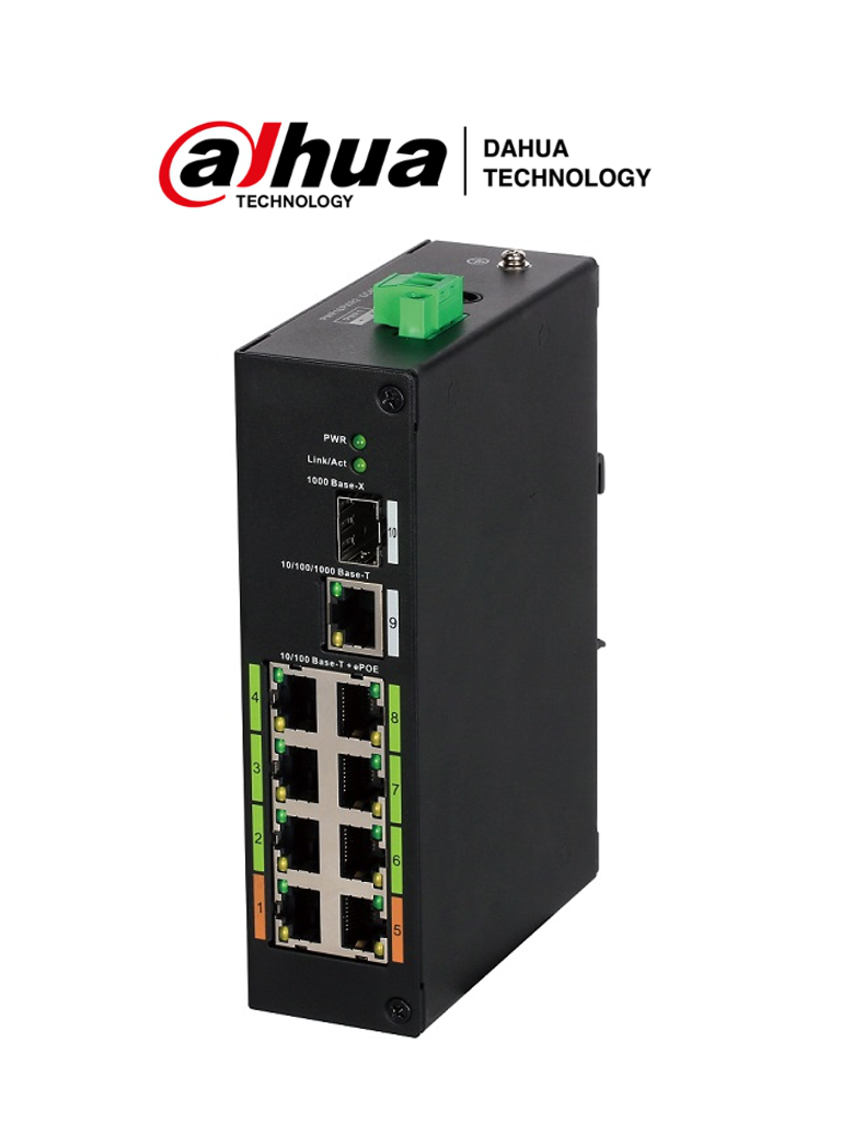 DAHUA LR2110-8ET-120 - Switch ePoE 8 Puertos/ Hasta 800 Mts con Camaras ePoE/ 120 Watts/ Switching 8.8G/ IEEE802.3af/ IEEE802.3at/ Hi-PoE