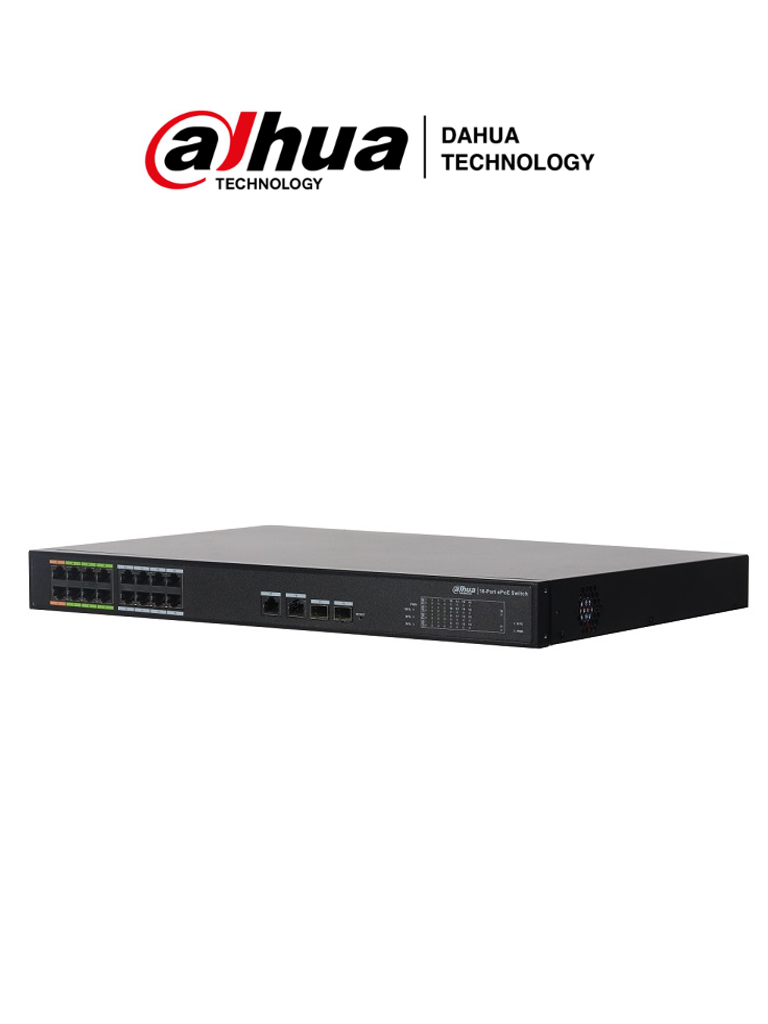 DAHUA LR2218-16ET-240 - Switch PoE 16 puertos/ 8 Puertos ePoE Hasta 800 Mts con Cámaras ePoE/ 240 Watts/ Switching 8.8G/ 802.3af/ 802.3at/ HI-PoE