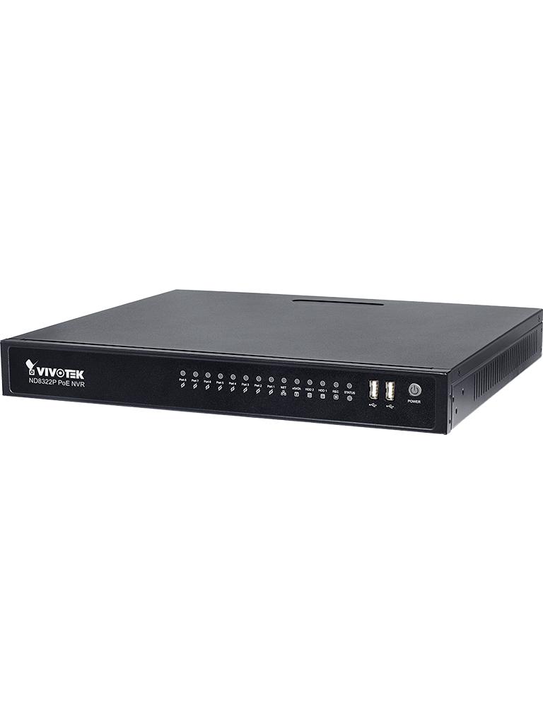 VIVOTEK ND8322P - NVR / 8 Canales  PoE AF 80  Watts / Auto SETUP / Hasta 2  HDD / Salida  HDMI / PLUG & PLAY / #Irresistibles