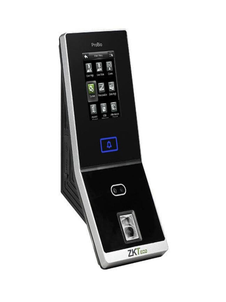 ZKTECO PROBIO - Control de Acceso Profesional / 1500 Rostros / Verificación Facial / 4000 Huellas / 100000 Registros / Entradas Auxiliares / #SinContacto