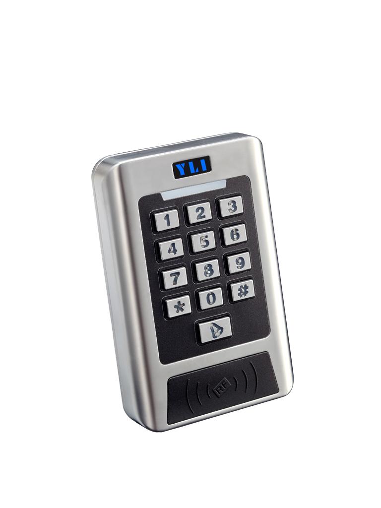 YLI YK768B - Teclado standalone para controlar hasta 2 puertas indicado para exteriores con IP68 capacidad de 2,000 usuarios con  tarjeta ID o password / 12VDC