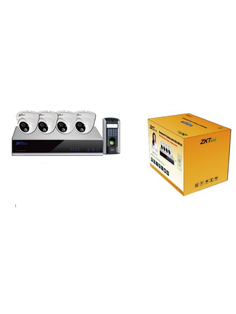ZKIP KIT102 - NVR 4 CANALES/ CONTROL DE ACCESO F7/ 4 CAMARAS IP DOMO 1 MP/ MOUSE/
