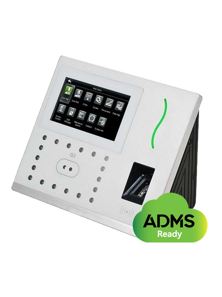 ZK G3MF - Control de acceso y asistencia / GREEN LABEL / 3 000 Rostros / 5 000 Huellas SILK ID / 10 000 Tarjetas MF / TCPIP / SOBREPED IDO