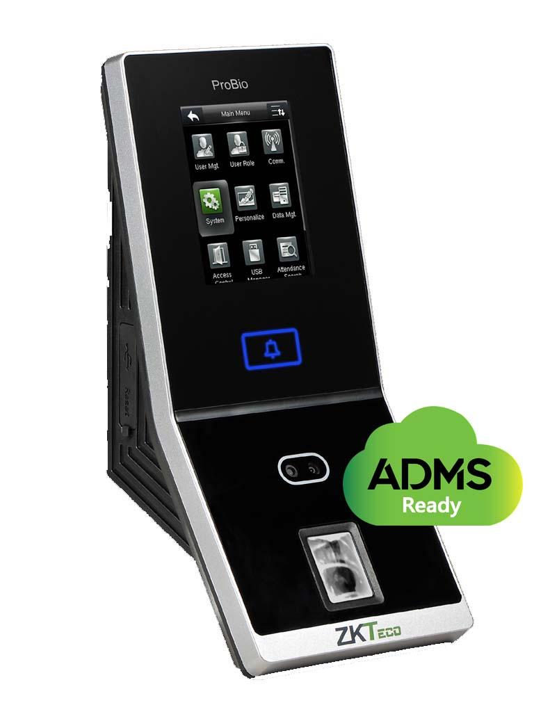 ZKTECO PROBIO - Control de Acceso Profesional / 1500 Rostros / 4000 Huellas / 100000 Registros / Entradas Auxiliares