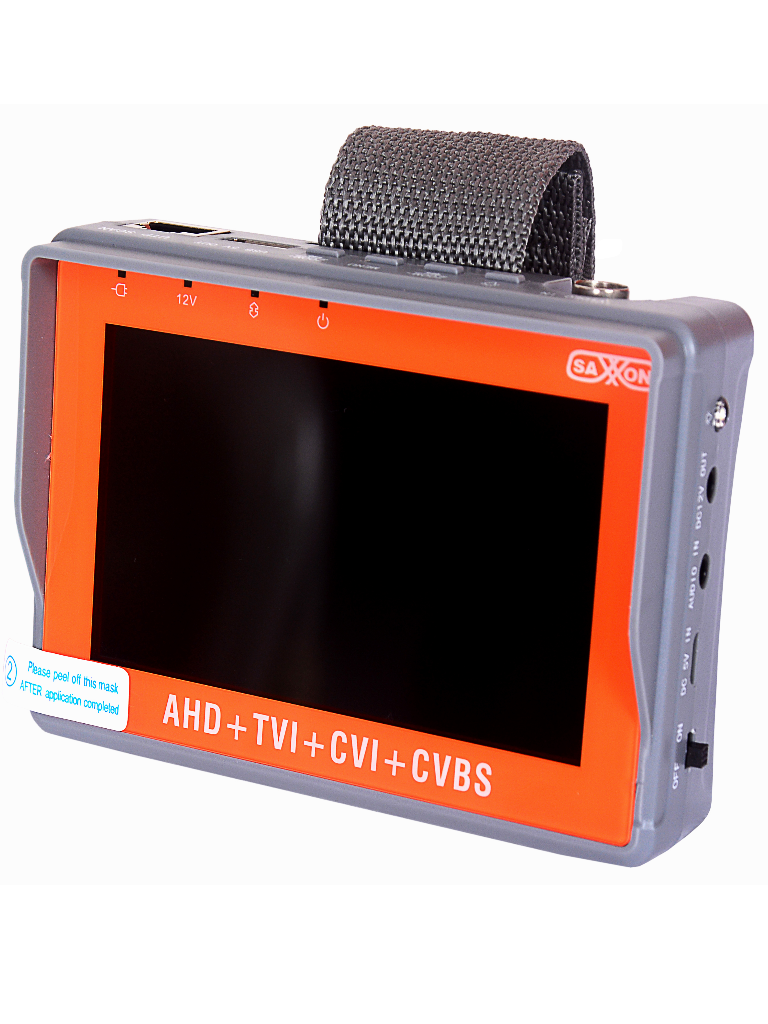 SAXXON TES07MC- Probador de video de pulsera hasta 5MP/ CVI/ TVI/ AHD/ Pantalla de 4 pulgadas/ Bateria 2.6AH/ Voltaje de salida 12V a 0.5 Amperes