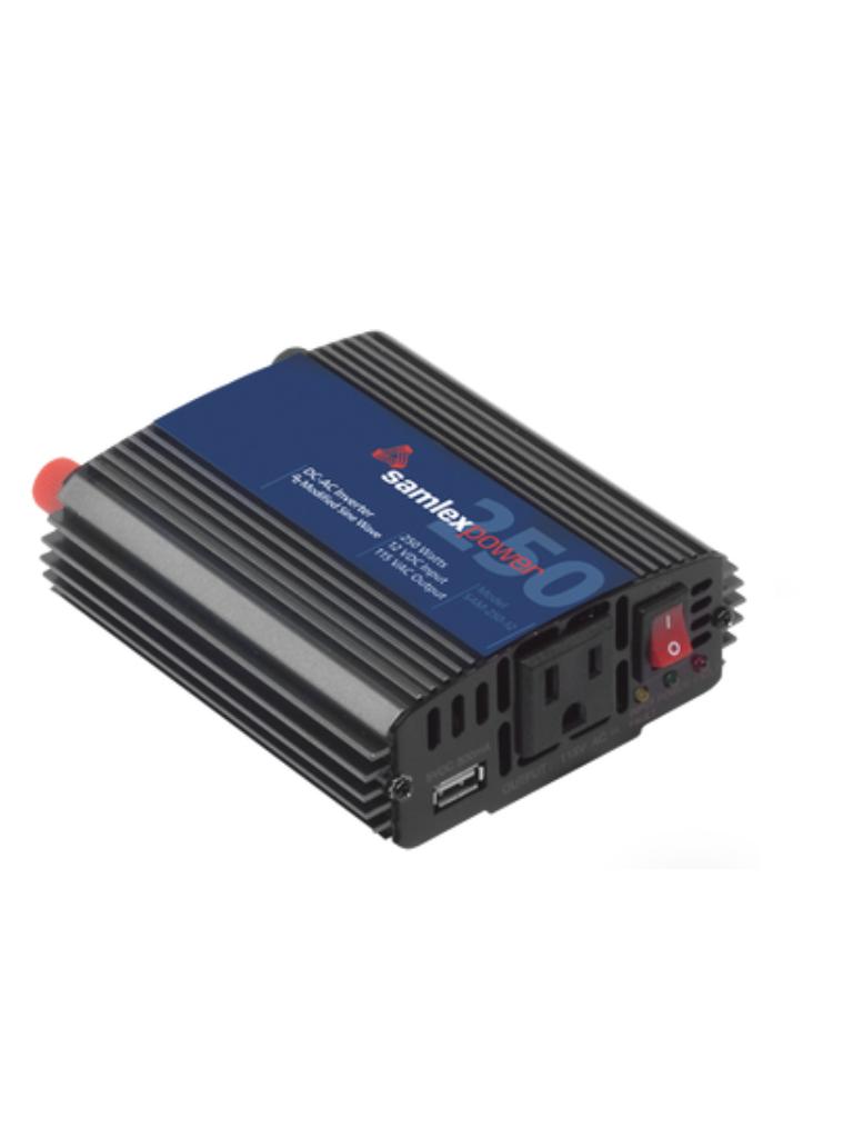 SAM - 250-12 Inversor de corriente CD / CA Potencia nominal 250W entrada 12VCD salida 115VCA 60HZ