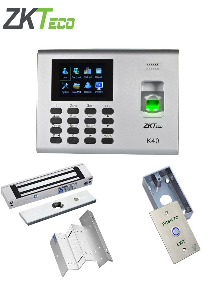ZKTECO K40PAK - Control de acceso y asistencia simple validacion con huella, incluye chapa magnetica de 280 Kg con indicador LED, soporte de fijacion y boton de salida iluminado