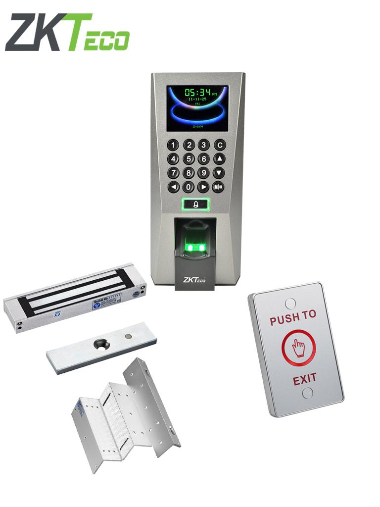 ZKTECO F18MFPAK - Control de acceso con validacion de tarjetas mifare, incuye chapa magnetica de 180 Kg, soporte de fijacion y boton de salida touch