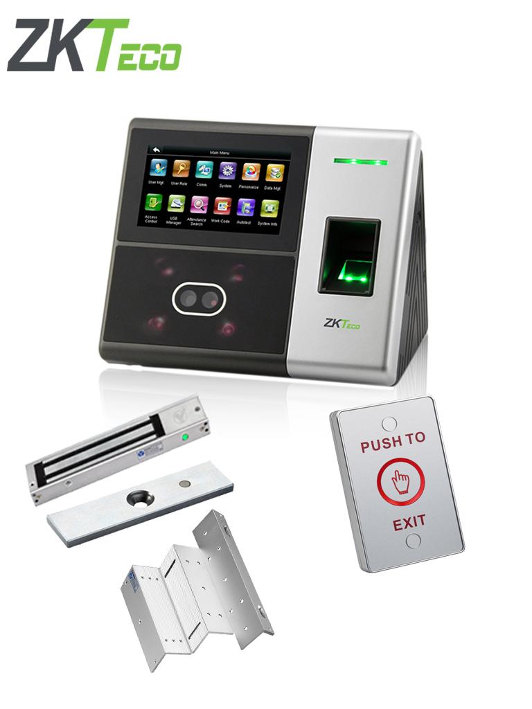 ZKTECO SFACE900PAK - Control de acceso y asistencia con verificacion de rostro, incluye chapa magnetica de 280Kg con indicador LED, soporte ZL y boton liberador iluminado