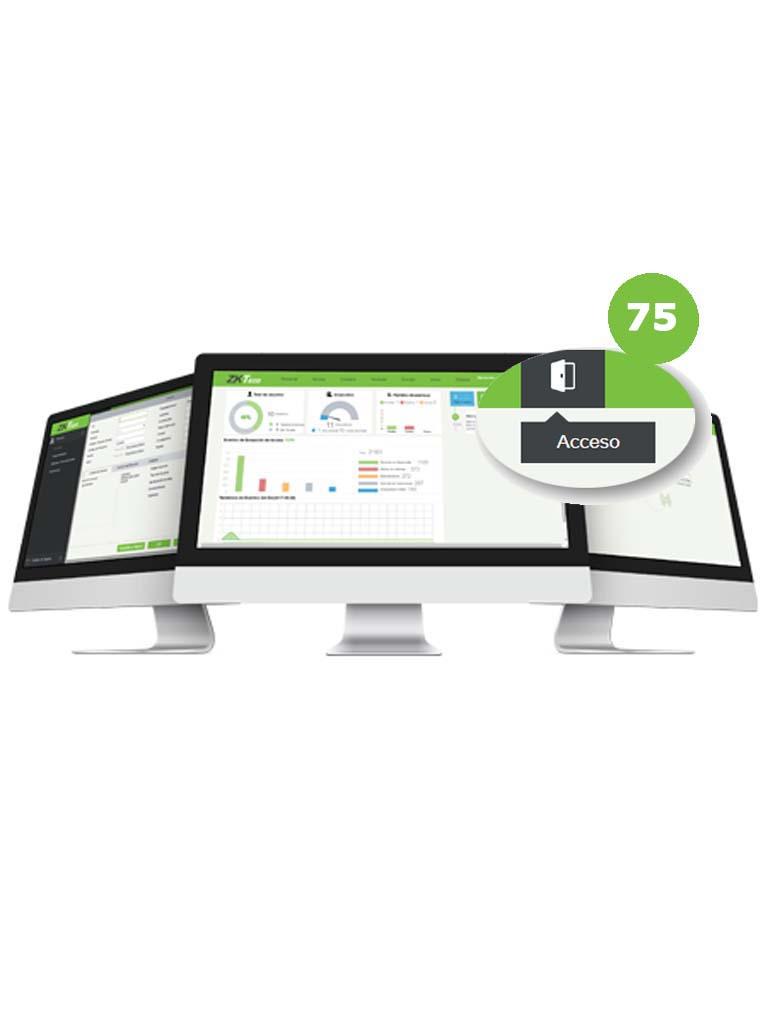 ZKTECO ZKBSACP75 - Licencia Vitalicia para 75 Puertas en Control de Acceso / Hasta 10 000 Usuarios / 1000 Departamentos / 1000 Áreas