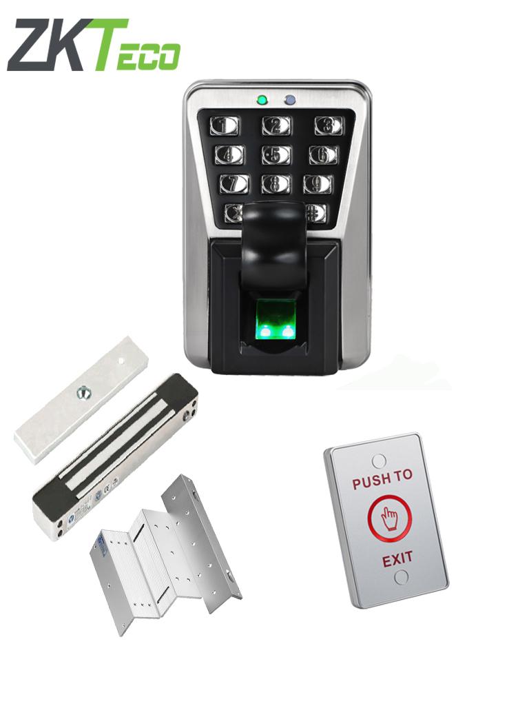 ZKTECO MA500PAK - Solución para exteriores de control de acceso profesional y asistencia IP65 incluye chapa magnética YM180WS, soporte de fijación y boton de salida