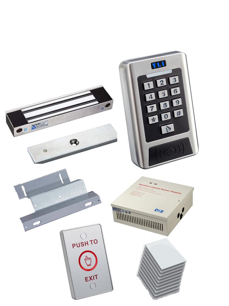 YLI YK768PAKEXT - Paquete con teclado para control de acceso para exterior  IP68 / Chapa para exterior de 350 Kg / Soporte  ZL / GABIENTE Con fuente / Boton  LED para exterior y tarjetas  ID 125 Khz