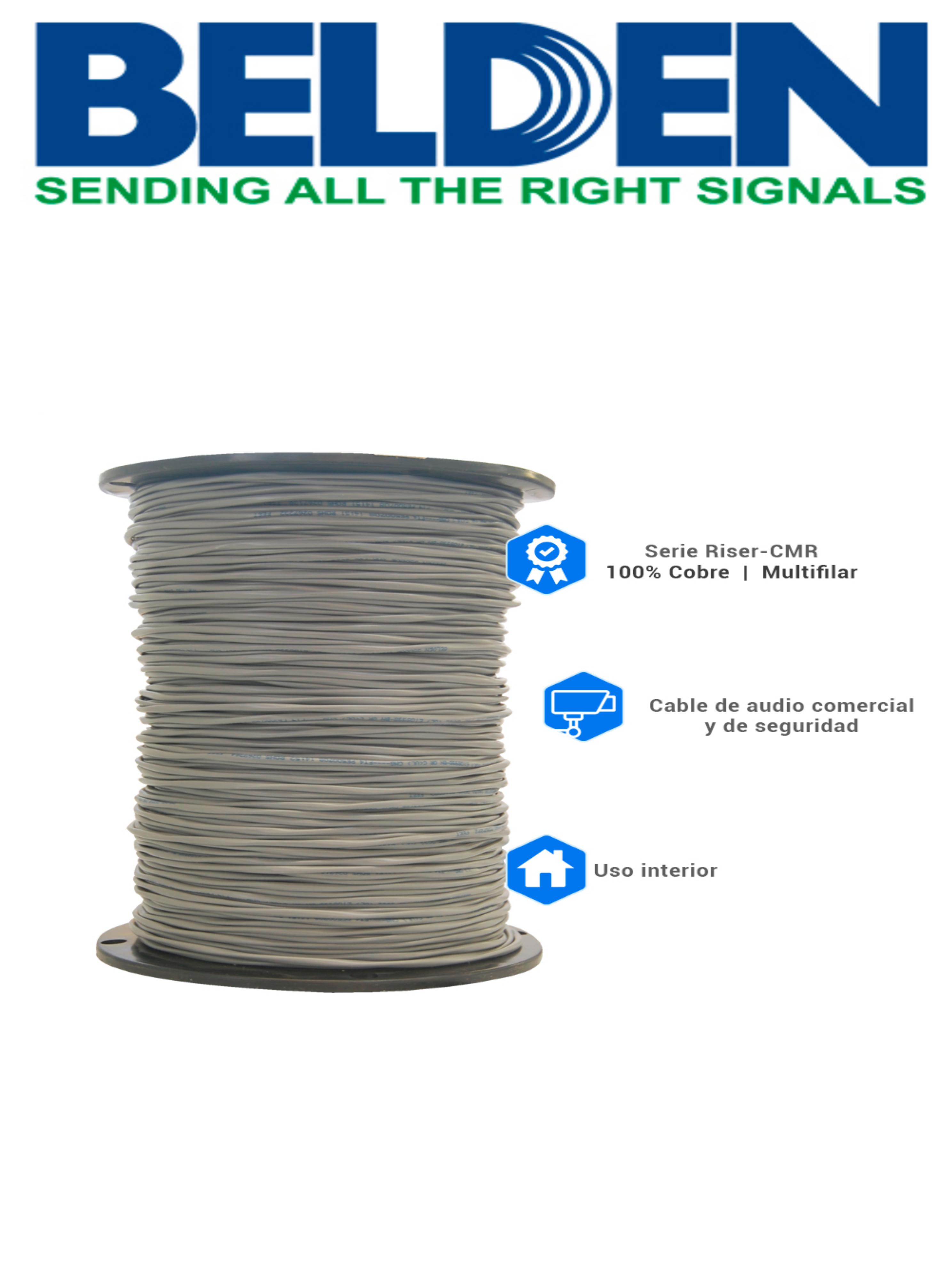 BELDEN 5300UE0081000 - Cable de alarma/ 2 Conductores / Calibre 18 AWG/ 305 Metros / Recomendable para control de acceso / Videoportero / Audio
