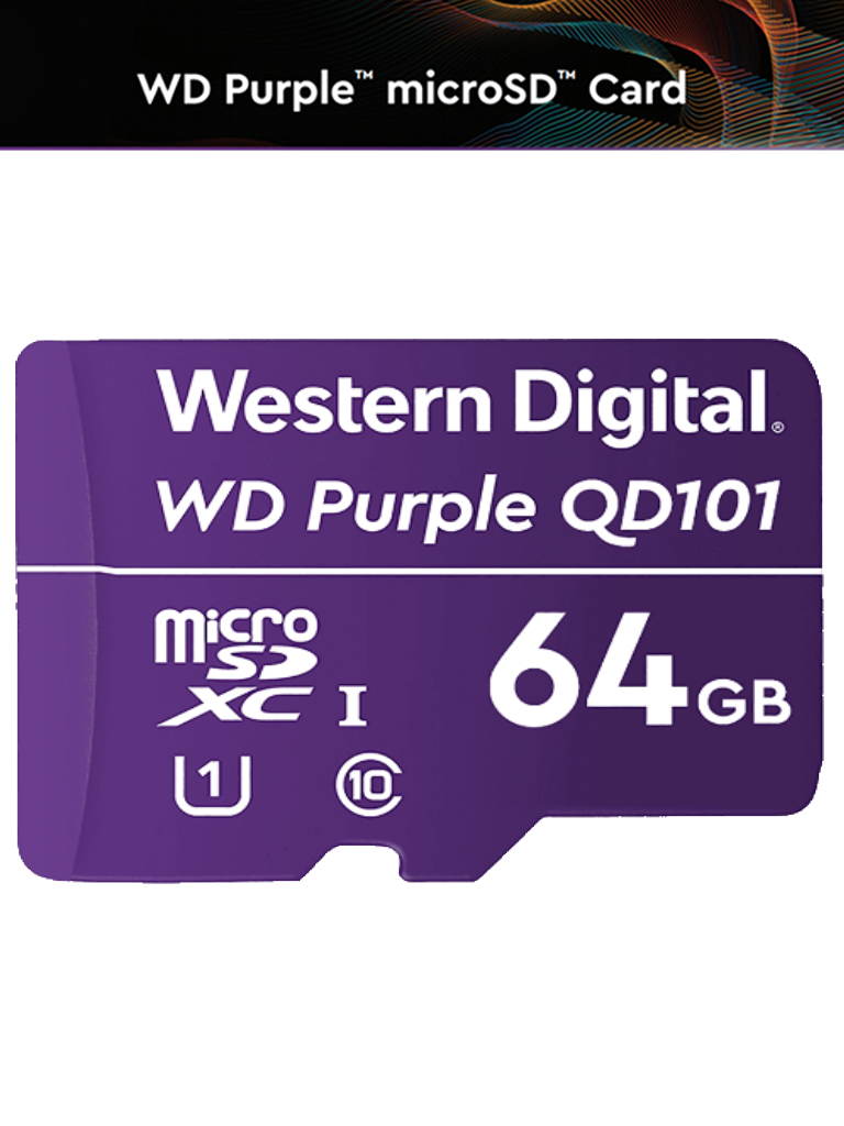 WESTERN WDD064G1P0C- Memoria de 64GB Micro SDXC/ Linea Purple/ Clase 10 U1/ Lectura 50MB/ Escritura 40MB/ Especializada para Videovigilancia