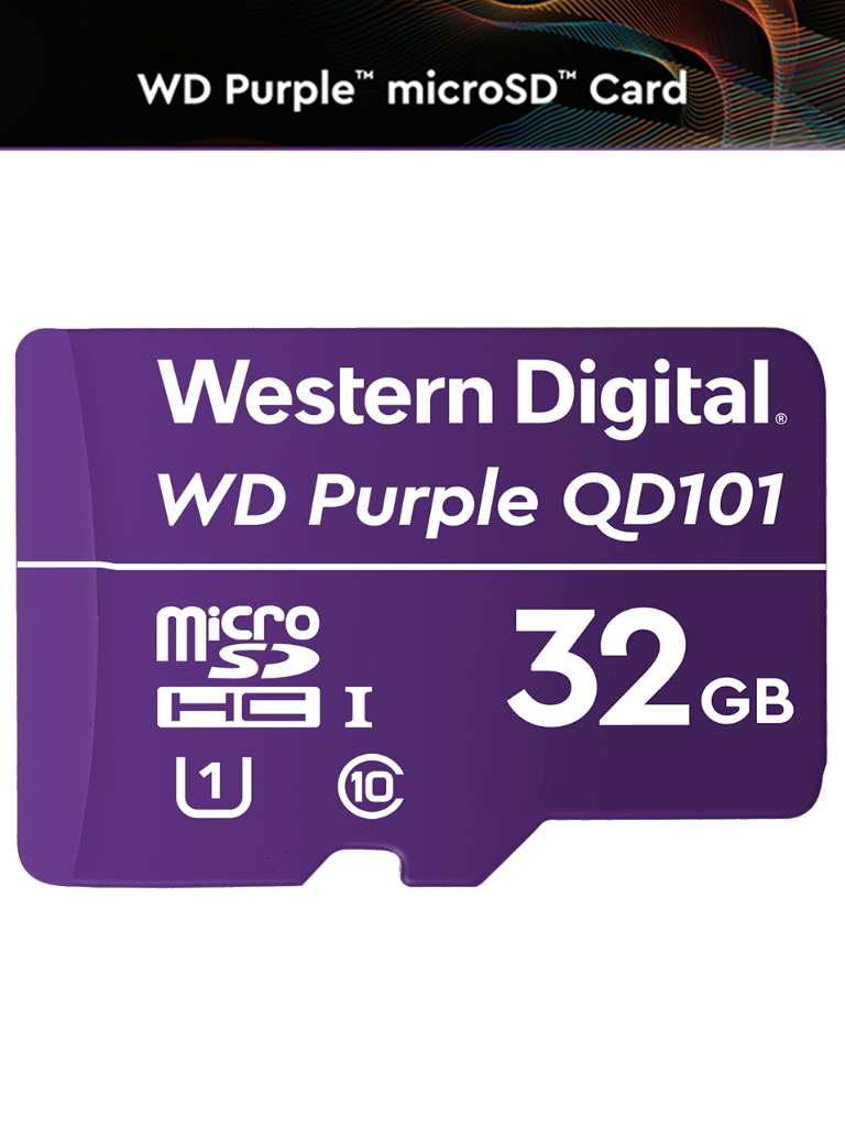 WESTERN WDD032G1P0C- Memoria de 32GB Micro SDHC/ Linea Purple/ Clase 10 U1/ Lectura 50MB/ Escritura 40MB/ Especializada para Videovigilancia